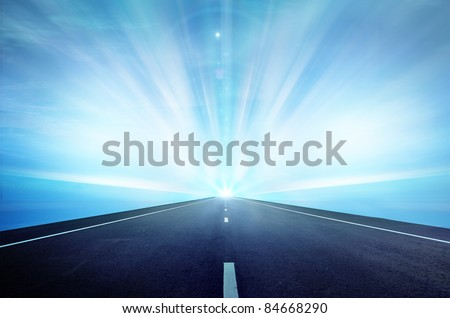 Way highway blue sky - stock photo