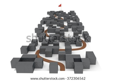 Way in complex labyrinth to  archive target - stock photo