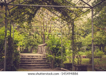 Way in the garden (Vintage), view from Suan Luang IX, Bangkok, Thailand - stock photo