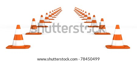 way of traffic cones on white background - stock photo