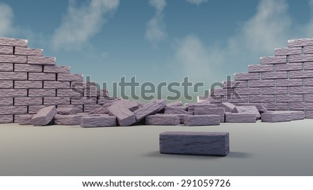 Way open, destroyed barrier  - stock photo
