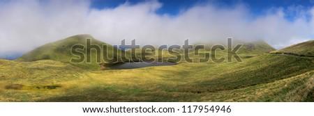 Way through the Highlands of Pico Island along Lagoa do Peixinho, Azores - Panorama - stock photo