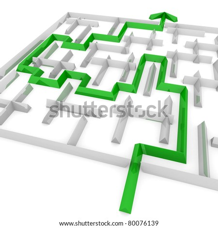 way to exit with an arrow through the maze - stock photo