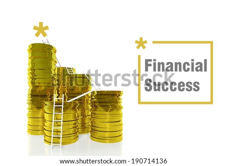 Way to Financial Success concept, ladders on gold coins - stock photo