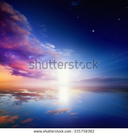 Way to heaven, bright light from heaven door - stock photo