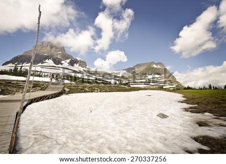 Way to hidden lake at glacier national park - stock photo