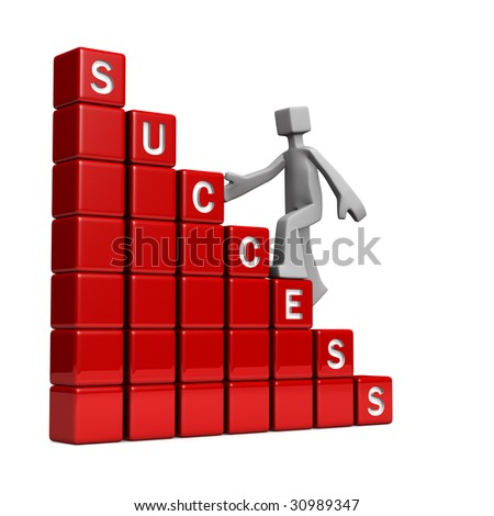 Way to success concept 3d illustration isolated - stock photo