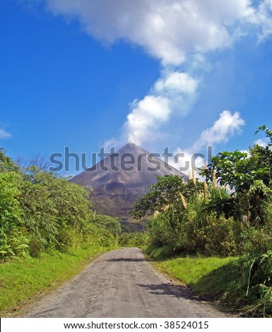 Way to the active volcano Arenal in Costa Rica - stock photo