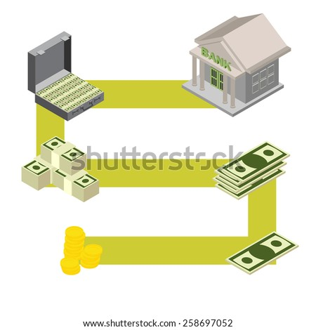 way to the Bank. Isometric stylele.  - stock photo