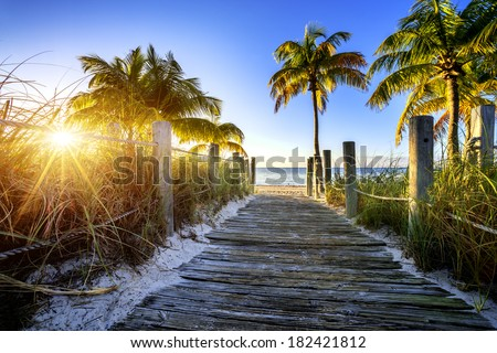 way to the beach in Key West, Miami, Floride, USA - stock photo