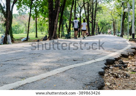way walk exercise in the park - stock photo