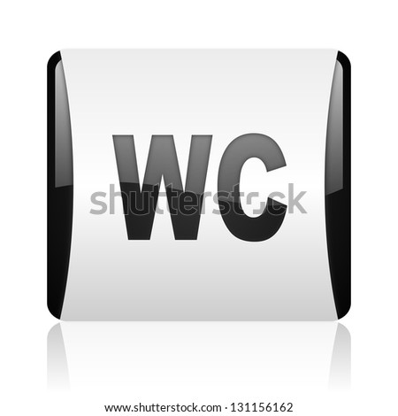 wc black and white square web glossy icon