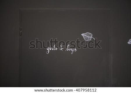 WC entrance door - stock photo