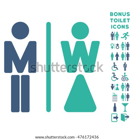 WC Persons icon and bonus male and female restroom symbols. Glyph illustration style is flat iconic bicolor symbols, cobalt and cyan colors, white background.