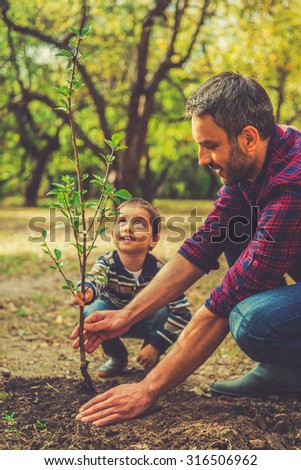 We are doing everything together. Happy young man planting a tree while his little son helping him - stock photo