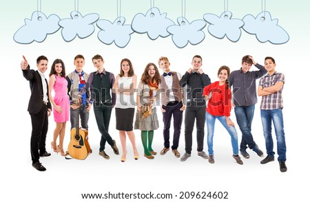We are so different! We are so cool! with Speech balloones - stock photo