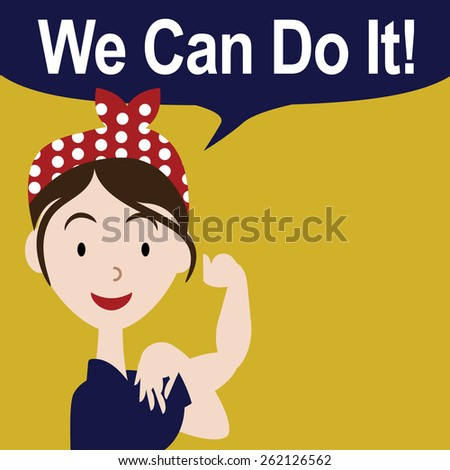 We can do it cartoon poster royalty free stock illustration for greeting card, ad, promotion, poster, flier, blog, article, social media, marketing  - stock photo