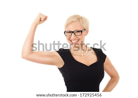 We can do it! - strong business woman - stock photo