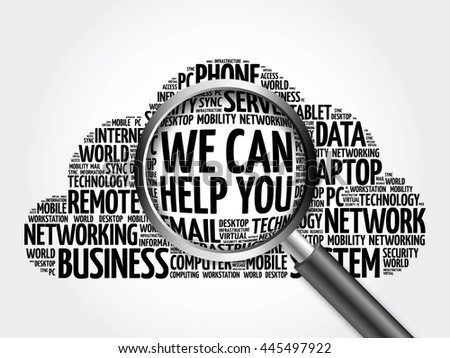 We can help you word cloud with magnifying glass, business concept 3D illustration - stock photo