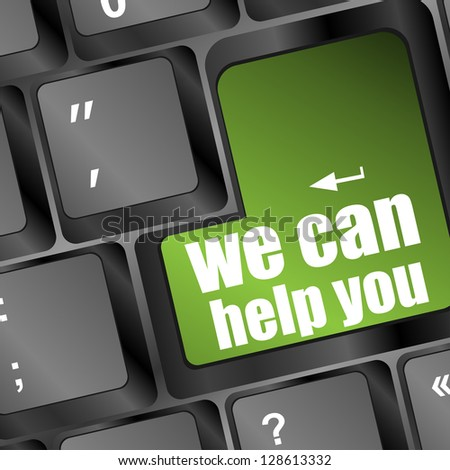 we can help you written on computer button, raster - stock photo