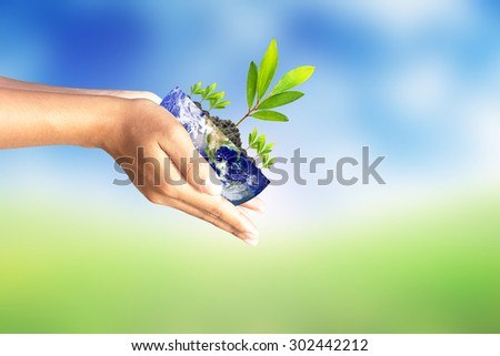 We love the world of ideas,World and tree in human hand on nature background. Elements of this image furnished by NASA.