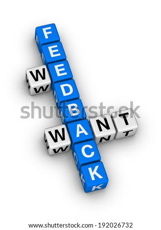 we want feedback crossword puzzle - stock photo