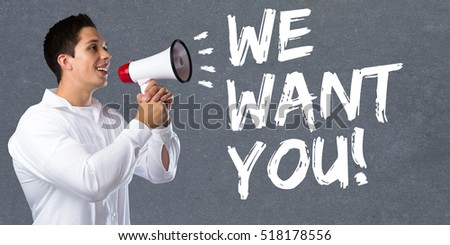 We want you jobs, job working recruitment employees business concept career young man megaphone bullhorn