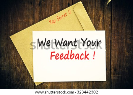 We want your feedback ! - stock photo