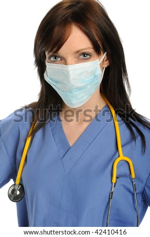 Wealth care professional with mask over mouth and nose - stock photo