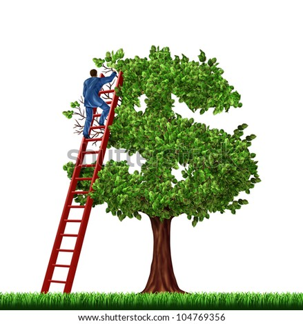 Wealth management and financial advice with a businessman on a red ladder managing the growth of a money tree shaped as a dollar sign on a white background. - stock photo