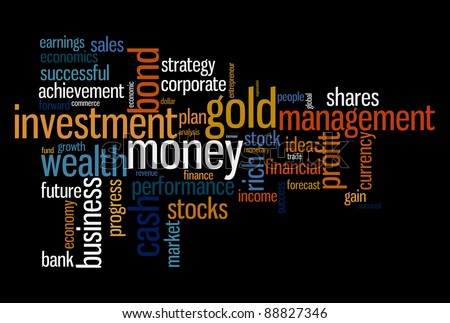 Wealth management portfolio info-text graphics and arrangement concept on black background (word clouds)
