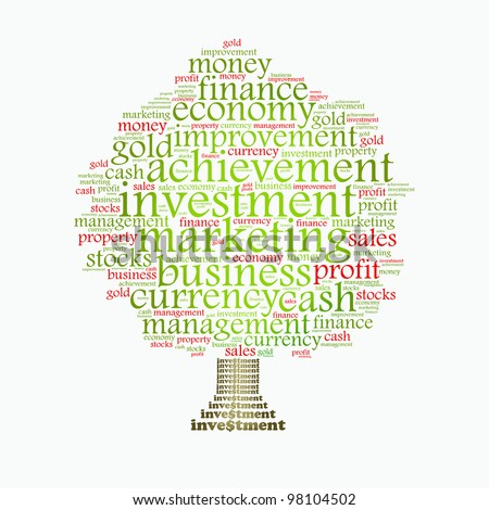 Wealth management portfolio info-text graphics and arrangement concept on white background (word clouds) - stock photo
