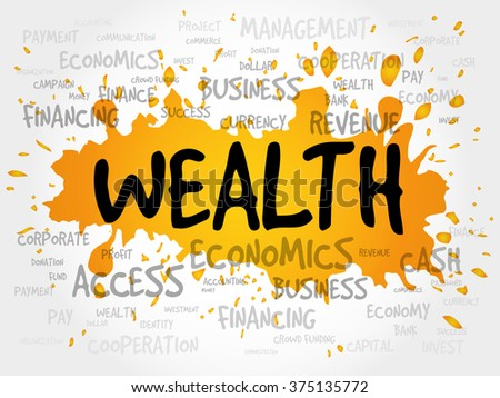 WEALTH word cloud, business concept - stock photo