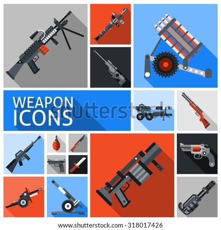Weapon decorative icons set with machine gun grenade handgun isolated  illustration - stock photo