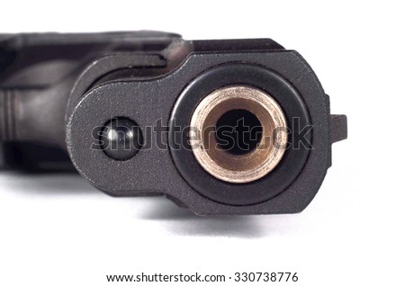 Weapon handgun close-up. Isolated on a white background - stock photo