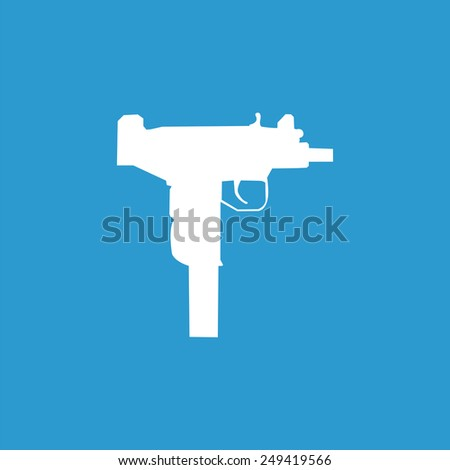 weapon icon, isolated, white on the blue background. Exclusive Symbols - stock photo