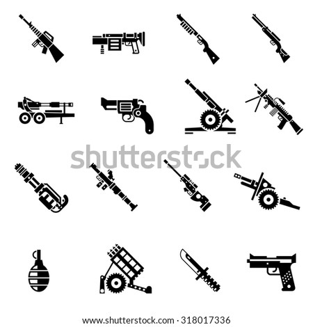 Weapon icons black set with bazooka ak47 gun rifle isolated  illustration - stock photo