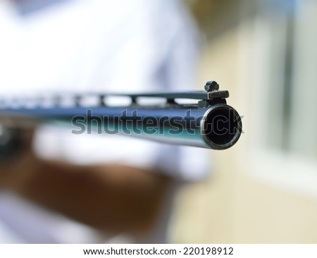 Weapon shotgun hunting pretty strong metal for real men. - stock photo