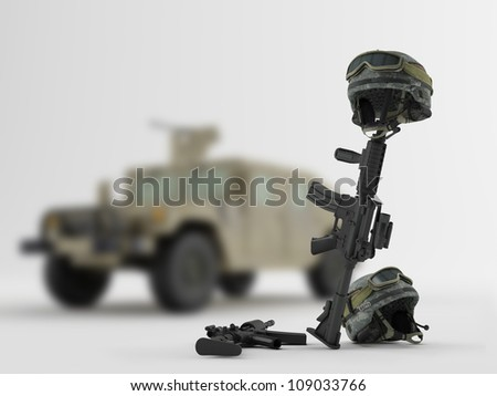 Weapons and helmets on the background of an army vehicle - stock photo
