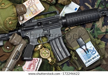 weapons and military equipment soldier of fortune - stock photo