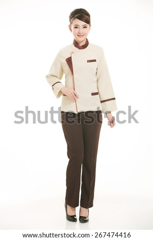 Wear clothing occupation Chinese waiters in white background