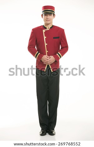 Wearing Chinese clothing waiter in front of a white background - stock photo