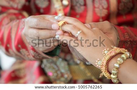 Wearing Thai Wedding Rings Stock Photo Royalty Free 1005762265