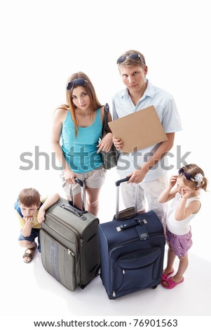 Weary families with children with an empty plate on a white background - stock photo