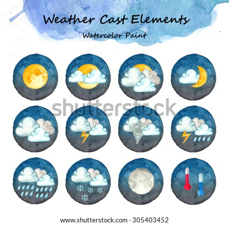 Weather cast elements, Watercolor paint high resolution