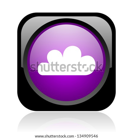 weather forecast black and violet square web glossy icon