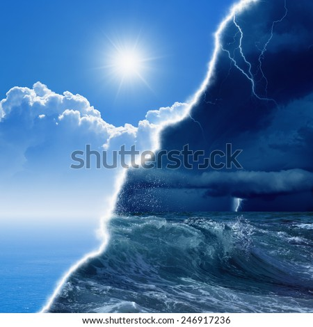 Weather forecast concept background -  opposite weather conditions, bright sun and blue sea; dark stormy sky with lightnings and stormy sea - stock photo