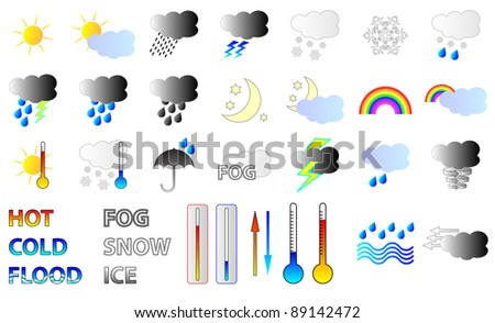 Weather forecast  Icons - stock photo