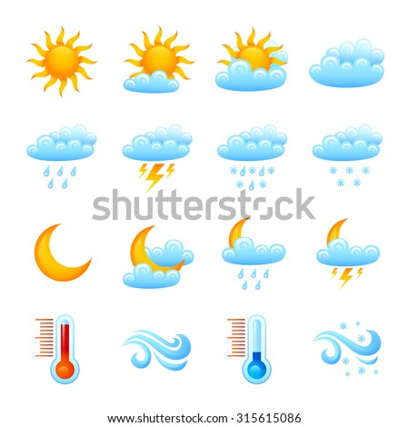 Weather forecast website decorative icon set with sun clouds rain thermometer isolated  illustration - stock photo