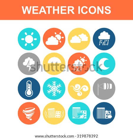 Weather icon set - Flat Series - stock photo